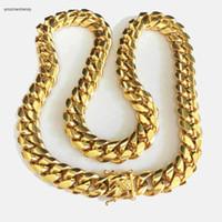 HIP HOP 14mm Edelstahl Curb kubanischen Kette Halskette Jungen Mens Fashion Kette Dragon Verschluss Link Schmuck