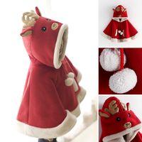 Xmas Детский плащ С Рождеством Христовым Красный Санта-Клаус Искусственный мех Дети Куртки и накидки Зимний теплый шаль для девочки