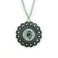 Mode Anhänger Halsketten Infinity Ketten Retro Blume 18mm Austauschbare Ingwer Druckknöpfe Erklärung Halsketten Für Frauen Schmuck