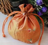 Gratis schip 30 stks handgemaakte hoge kwaliteit 11 * 13cm borduurbrocade brocart tas sieraden tassen snoep kralen bruiloft gift bags