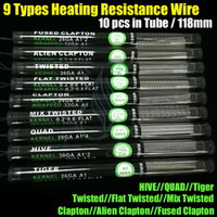 Fils Haut Résistance chauffage Alien Fused Clapton plat Mix Twisted Hive Quad Tiger 9 Types Pré 10pcs Construit en tube de 18mm mods Vapor RDA Bobines