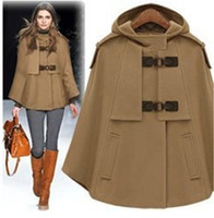UK Brand New Fashion Herbst Winter Brown Navy Cashmere Mit Kapuze Cape Mantel Nibbuns Frauen Mantel Casacos Femininos Freies Verschiffen
