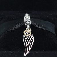L'argento 925 dell'argento 14K dell'oro reale di angelo ciondola il branello di fascino adatto ai collane dei braccialetti dei monili dei pandora europei