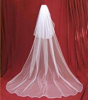 Simples longas duas camadas véus de nupcial com pente fita cetim tulle barato véu de casamento acessório de casamento frete grátis em estoque