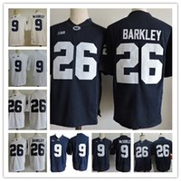 Mens Penn State Nittany Lions # 9 Trace McSorley 26 Saquon Barkley Navy Blue White No Name cheap College Stitched Jerseys Размер S-3XL