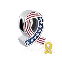 одна сторона флаг США antoher сторона желтый или розовый эмаль ленты бисера подвески в родием, пригодный для Pandora Европейский браслет