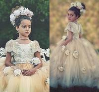 2015 vintage bloem meisje jurken voor bruiloft prinses korte mouwen crew bloemen kant tutu baljurk communie meisjes pageant jurken