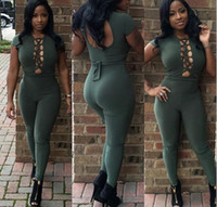 Hot fashion design bodycon jumpsuit summer sleeveless sexy b...
