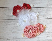 2015 New Girl Hair Band Satin Rose Flower Pearl Feather Fash...