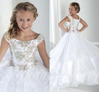 Tulle Crystal Long Long Girl's Pageant платья шапки рукава на шнуровке назад принцесса цветок девушки платья дешевые формальные платья для девочек