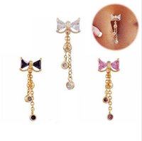 Fashion Bowknot belly button rings Bar stainless steel Surgi...