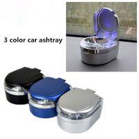 Großhandel aschenbecher 3 farbe tragbare aschenbecher auto aschenbecher lichter led licht automatische auto nach hause mülleimer aschenbecher atp239