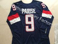 2016 신규, 무료 Shipp. Ice Hockey Jerseys Team 미국 # 9 Zach Parise 2014 소치 겨울 하키 저지 블루, 모든 스티치