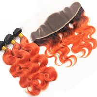 8A brasilianische orange Ombre Virgin Hair 3 Bundles mit 13 * 4 volle Spitze Frontal Cosplay Körper-Wellen-orange Ombre Spitze Frontal Mit Bundles