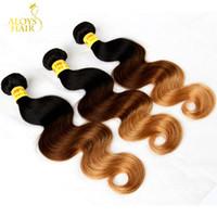 3 tons ombre vierge vierge de cheveux humains extensions corporelles vague de corps tricolore 1b / 4/27 # noir brun blonde ombre bundles de tissage de cheveux malaisiens