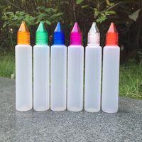 kalem tarzı unicorn e sıvı şişeleri uzun ince 15ml 30ml pe pet damlalık e suyu şişeleri çocuk geçirmez şişe e- sıvı DHL
