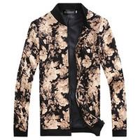 가을 2015 새로운 캐주얼 꽃 자 켓 남자 패션 남성 Outwear 꽃 인쇄 재킷 망 지퍼 코트 플러스 크기 M-3XL에 대 한 인쇄