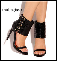 Sexy high heel sandals black small buckles gladiator sandals...