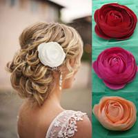 2015 Moda Popularne Wesele Włosy Kwiaty Handmade Bridal Hair Klipy Barrettes Druhna Kawałki Włosów Akcesoria Ślubne 8cm Średnica
