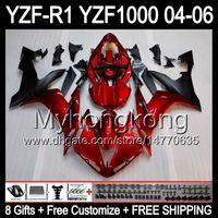 8Gifts + Body for Yamaha YZF-R1 04-06 Glansig röd YZF R1 MY45 YZF1000 YZFR1 04 05 06 YZF 1000 Mörk Röd Blk YZF R 1 2004 2005 2006 Fairing Kit