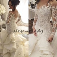Steven Khalil Luxury Cathedral Train vestidos de novia de la sirena 2018 Modest manga larga de encaje Organza Ruffles Dubai Arabic Wedding Dress Robe