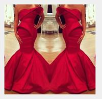 2020 사우디 아라비아 디자인 붉은 연인 인어 새틴 층 길이 이브닝 드레스 사용자 정의 만든 무도회 드레스