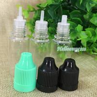 10ml E Liquido Contagocce in PET bottiglia con protezioni colorate a prova di bambino Punte sottili sottili Chiaro bottiglie di plastica ago 3000 pezzi per lotto