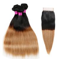 Paquetes brasileños de cabello virgen con cierre Ombre Cabello humano recto brasileño con cierre Cierre de encaje rubio con paquetes
