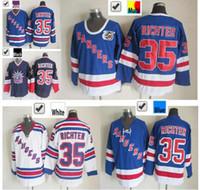 2016 New, Billig Verkauf New York Rangers # 35 Mike Richter Hockey Trikots Großhandel Beste Qualität Blau Weiß 100% Genäht Mike Richter Jer