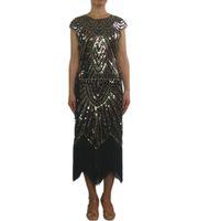Retro Boncuklu 1920 Vintage Art Deco Kokteyl Sineklik Elbiseler Kostüm Uzun Caz Dönemi Flappers Great Gatsby Kostüm Elbise Tarzı 1920 ...