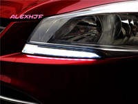 LED gündüz farları DRL Far lambası kaş, Ford KUGA ESCAPE 2013 ~ 2016 için LED kılavuz sis lambası kılıf değiştirme