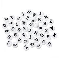 Neue Acryl Spacer Pony Perlen Flache Runde Alphabet / Buchstabe Weiß 10mm Durchmesser, Loch: Ca. 2,4 mm, 200PCs Schmuckzubehör machen DIY Großhandel