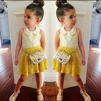 Girls Clothing Set Children White Top with Yellow Skirt 2PCS...