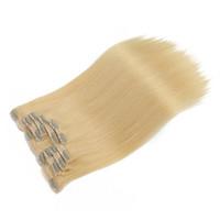인간의 머리카락 연장에서 최고 품질의 클립 브라질 버진 헤어, 7pcs 세트 100g 스트레이트 웨이브 금발 컬러 헤어 클립, 무료 DHL