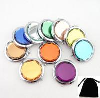 Logo Stampa colorato cosmetico Pocket compatto trucco in acciaio Specchi di viaggio Deve bella borsa Fashion Design carino DHL Free Ship