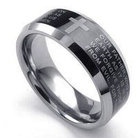 Mens Tungsten Ring 8mm Cross English Lords Prayer Band Black...