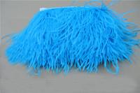 Бесплатная доставка-10 ярдов / лот бирюзовый страусиное перо обрезки бахрома страусиное перо бахрома перо отделка 5-6 дюймов в ширину