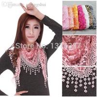 Wholesale-Lace Sheer Floral Print Triangle Veil Church Mantilla Scarf Shawl Wrap Tassel