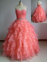 2015 real muestra de coral bola vestido quinceanera vestidos cariño organza coral de encaje hacia arriba con cuentas de cuentas baratas de baile de fiesta de fiesta formal vestido de vestir personalizado
