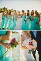 Azul Praia Longo Dama de Honra Vestidos Até O Chão Chiffon Vestidos de Festa de Casamento Para Dama de Honra com Plissados Querida Damas De Honra Vestidos
