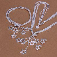 Joyería de moda Set 925 Silver Star collar pendientes de la pulsera para mujeres regalos del partido Envío gratis