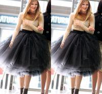 2015 새로운 패션 검은 계층 무릎 길이 Bouffant 얇은 명주 그물 치마 세련된 루슈 여성 스커트 멀티 레이어 성인 투투 푹신한 공 가운 스커트