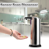 Navio dos EUA! Sensor de Sabão Dispensador de Aço Inoxidável Automático Mãos Livres Máquina de Lavar Portátil Movimento Ativado w / Stand Frete Grátis