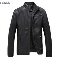 Wholesale- FGKKS New Men's Brown Genuine Leather Jackets Men Genuine Real Cowhide  Male Bomber Motorcycle Biker Coats