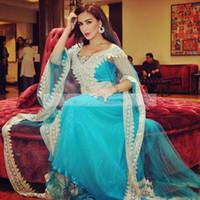 2019 KAFTAN ABAYA 아랍어 플러스 사이즈 이브닝 드레스 긴 소매 V 목 Applique Tulle 정장 가운 두바이 무슬림 무도회 드레스