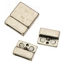 Resultados da jóia ímã fechos diy pulseiras de couro largas cordas grande praça em branco suave do vintage prata 23mm grande buraco de metal 29 * 24mm 20 pcs