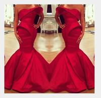 2020 Nuevo diseño arábigo saudita Red Sweetheart Mermaid Satin Longitud de piso Vestidos de noche Bateau Hecho a medida Dubai