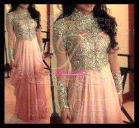 Розовые линии высокая выречка с длинными рукавами арабские мусульманские вечерние платья 2015 шифон длинные бисером кристалл выпускные платья на заказ BO5728
