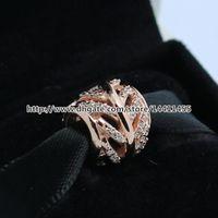 925 Sterling Silver Rose Gold plated Micro Pave Feather Bead adapta a la joyería europea pulseras collares collares colgantes