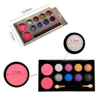 10 Colors Makeup Eyeshadow & Blush Palette Set Shimmer Eye S...